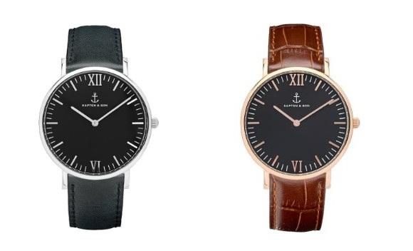 all black leather and croco leather watch